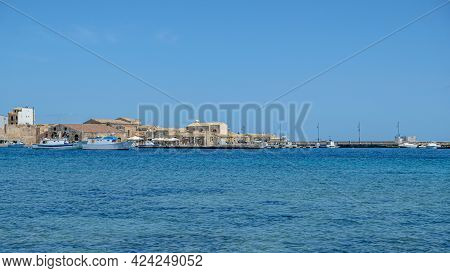 Sicily, Province Of Syracuse. View Of The Town Of Marzamemi, An Idylic Fishing Village.