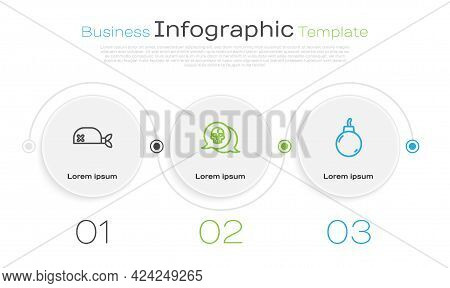 Set Line Pirate Bandana For Head, Skull And Bomb Ready To Explode. Business Infographic Template. Ve