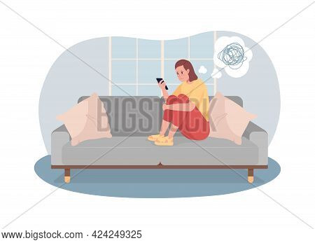 Unhappy Teen Girl Look At Phone Screen 2d Vector Isolated Illustration. Adolescent Kid With Depressi
