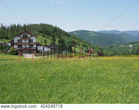 Countryside At Silesian Beskid Mountains Range On European Bialy Krzyz In Poland With Clear Blue Sky