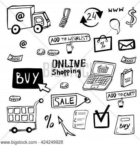 Online Shopping Doodle Set Hand Drawn. Online Shopping Vector Collection Of Icons. Drawn Symbols Sho