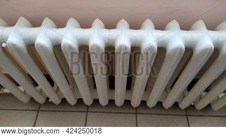 Indoor Heating Radiator. Cast Iron Radiators Heat The Room. View From Above.