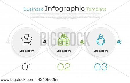 Set Line Necklace On Mannequin, Jewelry Store And Diamond Engagement Ring. Business Infographic Temp
