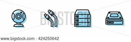 Set Line Server, Data, Web Hosting, Camera, Lan Cable Network Internet And Optical Disc Drive Icon.