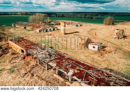 Belarus. Abandoned Barn, Shed, Cowsheds, Farm House In Chernobyl Resettlement Zone. Chornobyl Catast