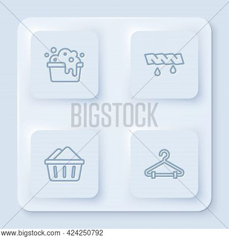 Set Line Basin With Soap Suds, Squeeze Clothes, And Hanger Wardrobe. White Square Button. Vector