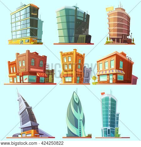 Historical And Modern World Most Visited Famous Distinctive Buildings Icons Set For Tourists Cartoon