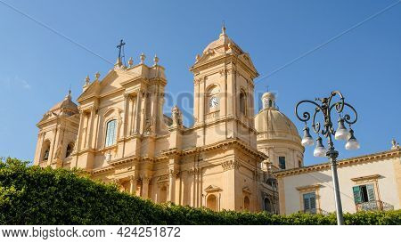 Noto Cathedral, Sicily. The Building Is One Of The Most Iconic Representation Of The Sicilian Baroqu
