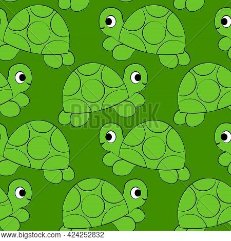 Seamless Vector Pattern With Outline Green Cute Turtle