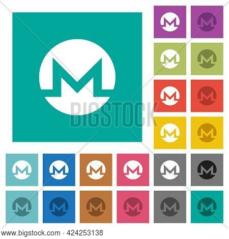 Monero Digital Cryptocurrency Multi Colored Flat Icons On Plain Square Backgrounds. Included White A