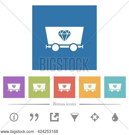 Diamond Mining Flat White Icons In Square Backgrounds. 6 Bonus Icons Included.