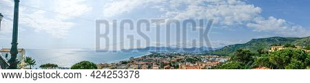 Sperlonga Town, Province Of Latina, Lazio Region. General View Of The Town And The Beach.