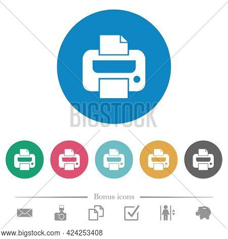 Printer Flat White Icons On Round Color Backgrounds. 6 Bonus Icons Included.