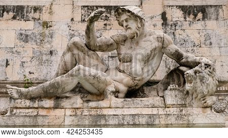 Rome. Statue Of The Fountain Of Adriatic. Is One Of The Two Identical Fountains That Were Located At