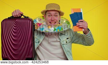 Traveler Tourist Teen Student Boy Celebrating, Holding Passport, Tickets, Luggage. Concept Summer Va