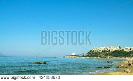 Sperlonga, Lazio Region, Italy. The Beautiful Beach That Surround The Town.