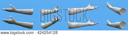8 White Concrete Statue Hand Renders Isolated On Blue, Lights And Shadows Distribution Example For A