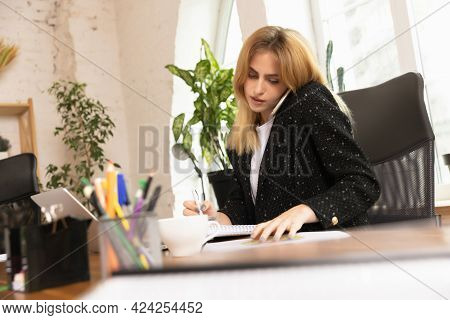 Young Caucasian Woman, Office Worker, Manager Working At Office, Concept Of Teamwork, Coworking, Wor
