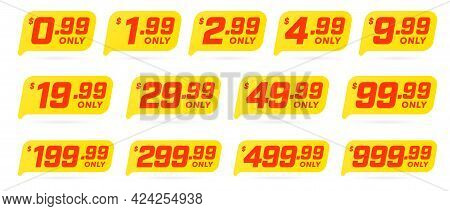 Discount Price Tag With Important Sale Information. Product Sticker With Cheap Price In Dollar For M