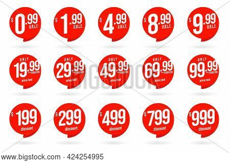 Only Cheap Price In Usd And Special Discount Badge Sticker. Set Of Round Retail Sale Tag Or Store Pr