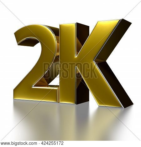 2 Thousand.thank You-followers. 3d Illustration For Blog Or Post Design. 2k Gold On A White Backgrou