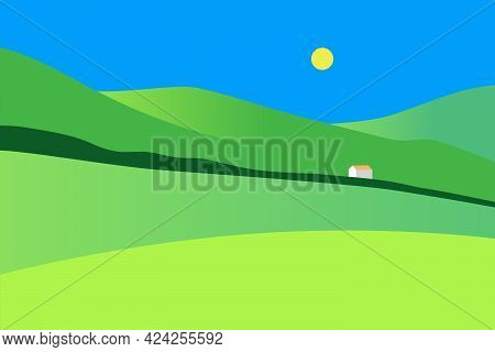 Rural Landscape. Field Landscape With Green Hills, Blue Sky And House. Country Background. Flat Vect