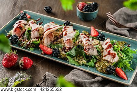 Sliced Ham Meat With Quinoa Porridge, Salad And Berry Sauce In Plate On Wooden Background. Healthy F