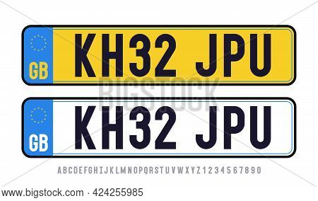 Great Britain Plate Template Set With Font. United Kindom Car Plate Registration Number. Vector 10 E