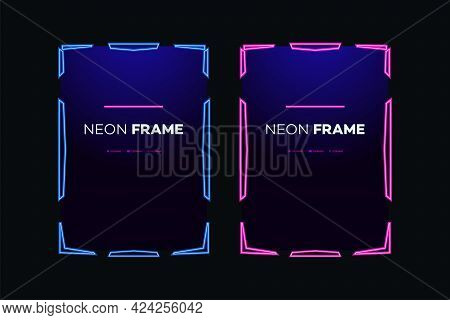 Neon Frame Template Modern Theme. Streaming Screen Panel Overlay Game. Live Video, Online Stream Fut