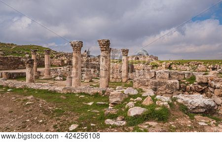 Amman Jordan, The Building Of The Byzantine Church In The Citadel In Spring Day