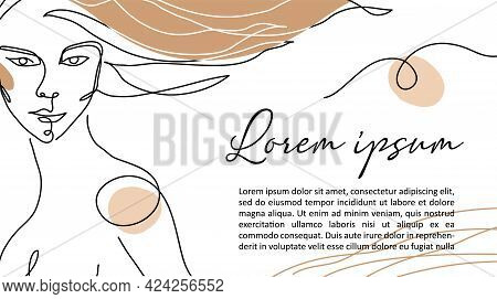 Woman Hair One Line Art. Hairdressers, Signboard, Banner, Shop Sign Design. Girl, Woman, Female Mini