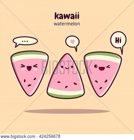 Kawaii Watermelon Slices. Cute Kawaii Food Characters.