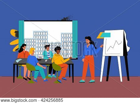 The Female Supervisor Holds A Meeting, A Planning Meeting. Business Meeting With Colleagues, Brainst