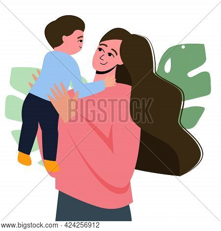 Mom Holds Her Son In Her Arms, An Illustration For Mother's Day. Mother And Son. Cartoon Flat Illust