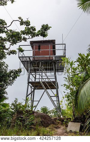 Fire Observation Tower Built At The Top Of Mont Azore (fond Azore), On Glacis Noire Nature Trail, Hi