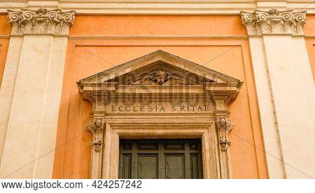 Rome. Facade Of Santa Rita Da Cascia Alle Vergini Church, Built In 1643 By Architect Carlo Fontana.