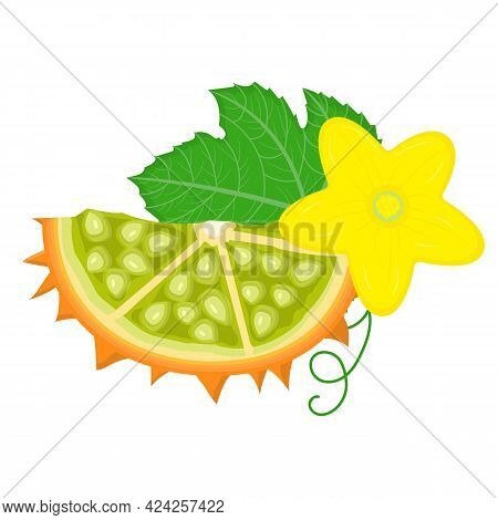 Fresh Cut Sliced Yellow Kiwano Fruit With Flower Isolated On White Background. Summer Fruits For Hea