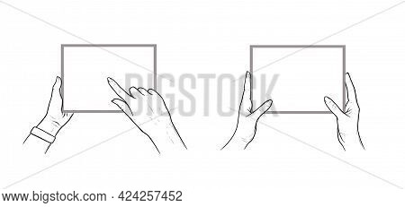 Hands Holding Tablet With Finger Chosing An App. Set Of Horizontal Tablets In Hands Of A Human. Sket