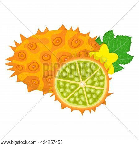 Fresh Whole And Half Cut Yellow Kiwano Fruit Isolated On White Background. Summer Fruits For Healthy