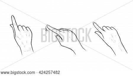 Index Finger Gestures For Smartphone Or Tablet. Tap, Swipe Or Slide Gestures For Devices With Touchs