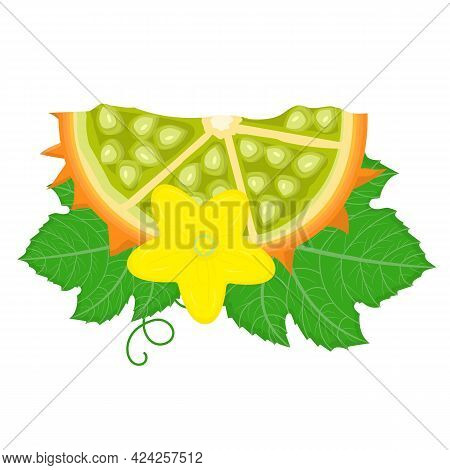 Fresh Cut Sliced Yellow Kiwano Fruit With Leaf And Flower Isolated On White Background. Summer Fruit