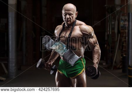 Old Fashion Bodybuilder Arm Exercises In Gym