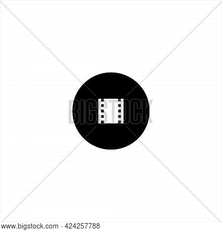 Filmstrip Movie Button Icon Vector In Retro Style