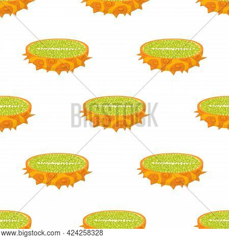 Seamless Pattern With Fresh Half Cut Yellow Kiwano Fruit Isolated On White Background. Summer Fruits