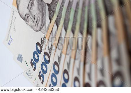 Ukrainian Money Background. 500 Hryvnia Banknotes Closeup. Selective Focus.