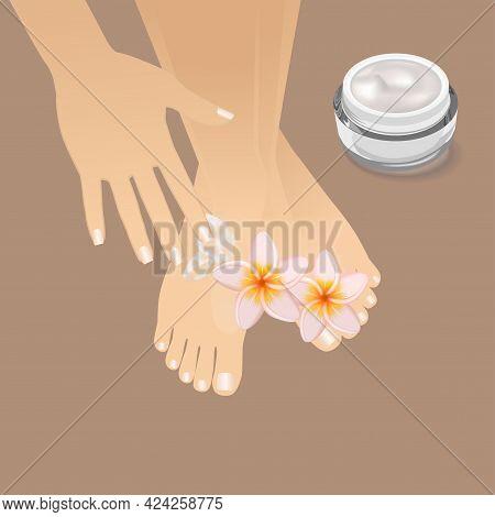 Beautiful Well-groomed Female Hand Applying Foot Moisturizer. Slender Groomed Woman's Feet With Crea