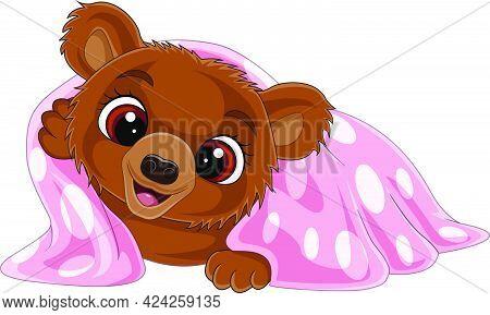 Vector Illustration Of Cartoon Funny Baby Bear Wearing Pink Blanket