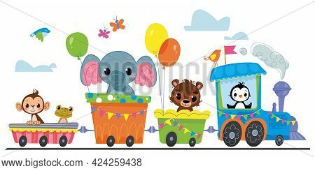 Cartoon Steam Locomotive With Cute Animals Rides On A White Background. Banner With Rail Transport A