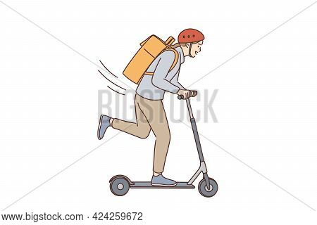 Riding Scooter And Having Fun Concept. Young Positive Lady Cartoon Character In Helmet With Backpack