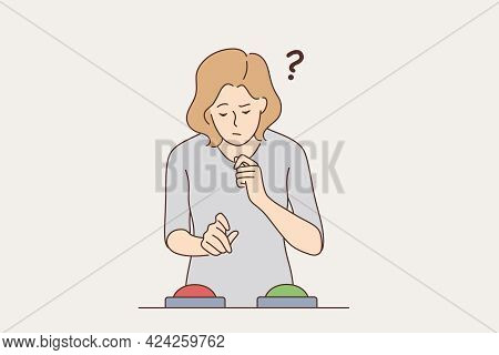 Feeling Doubt, Difficult Choice Concept. Young Frustrated Woman Cartoon Character Standing Feeling D